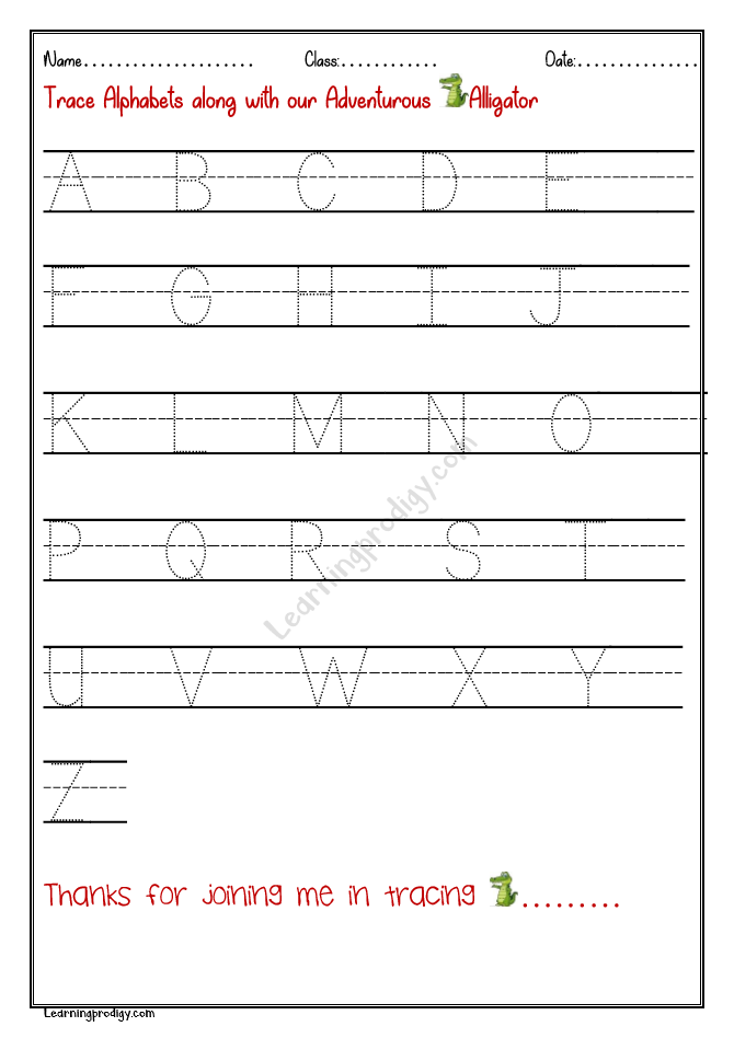 Free Printable English Alphabets Tracing Worksheet-Capital Letters  LearningProdigy English, English Alphabets Tracing, English-N |