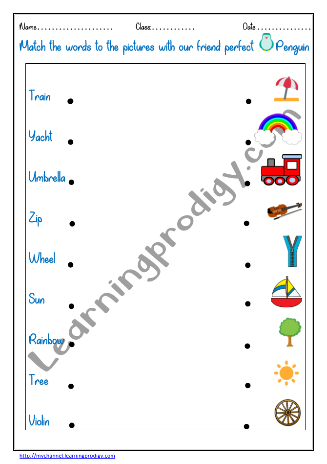 Match The Words To The Pictures English Worksheet For Kindergarten  Pictures Worksheet For Kids LearningProdigy English, English Match The  Pictures To The Words, English-K, Subjects |